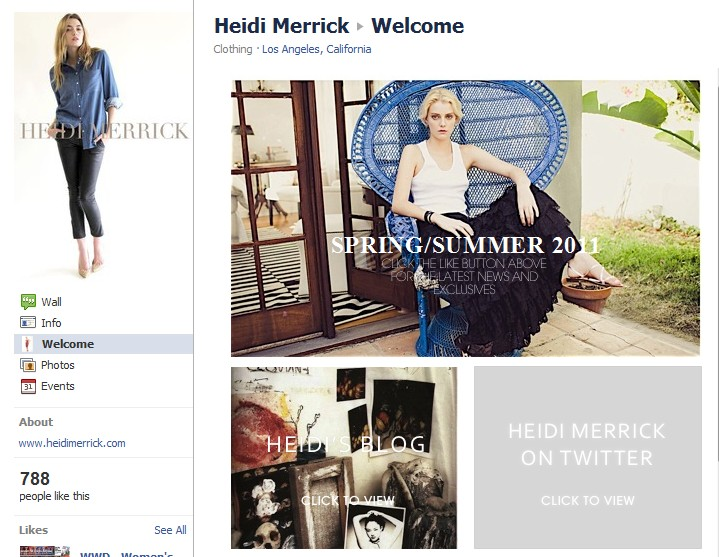 Fashion Designer Heidi Merrick's Facebook Welcome Tab