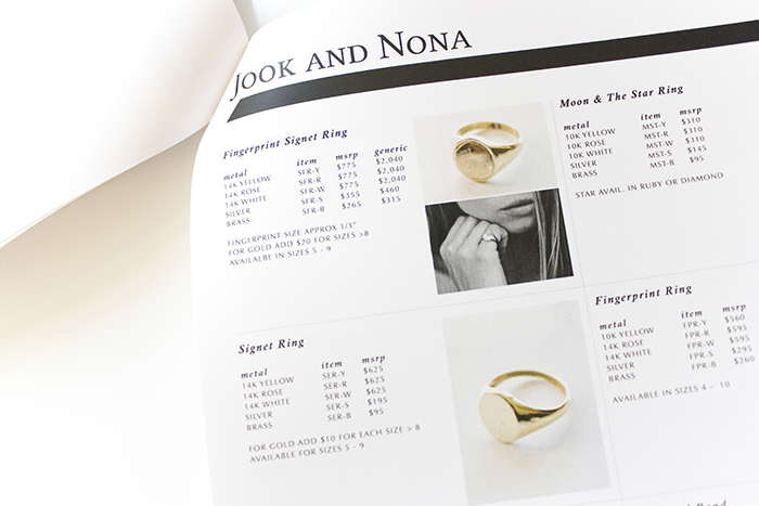 Jewelry Brand Line Sheet Example Pr Couture Hub For