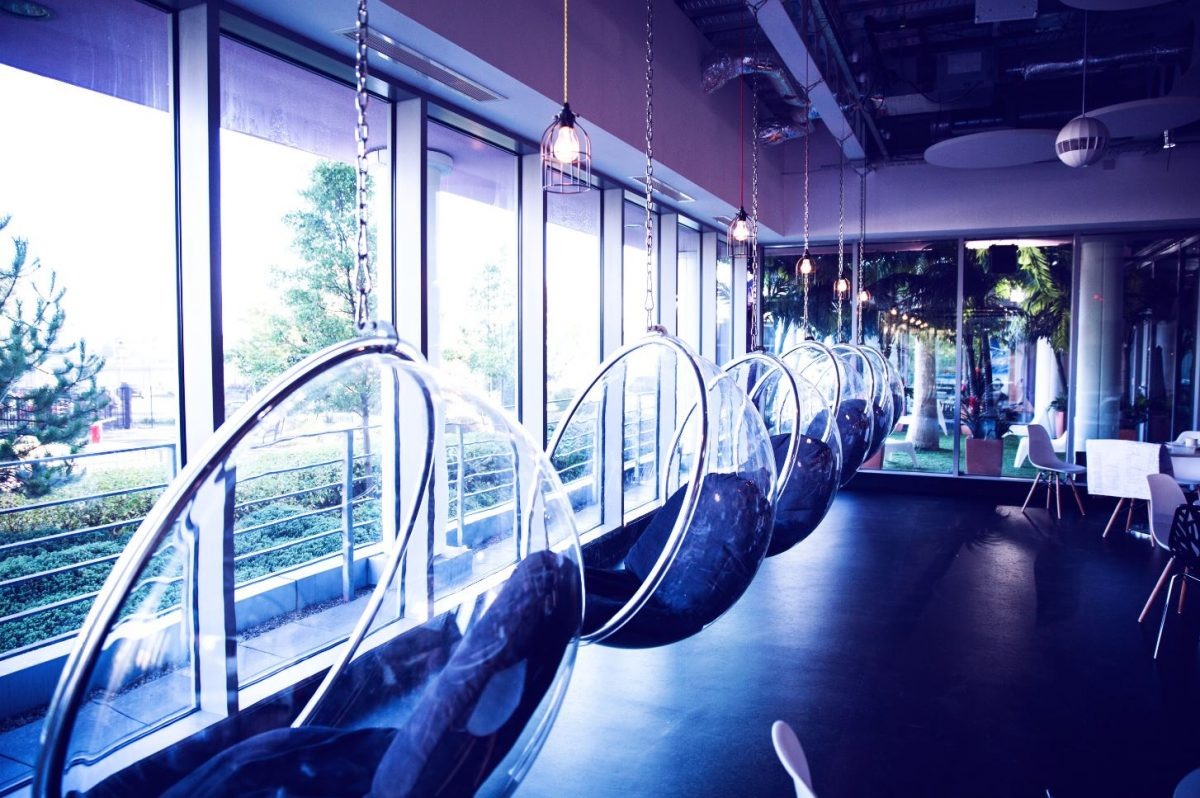Swing Chairs at Missguided Headquarters in UK.