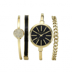 Right on TimeYes, you can see what time it is on your phone, but we think there is something supremely classy about a feminine watch, particularly one that comes with its own accessories. Anne Klein watch set, $158, available at Macy's