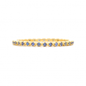 BOWEN NYC GOLD AND BLUE SAPPHIRE FLORET RING