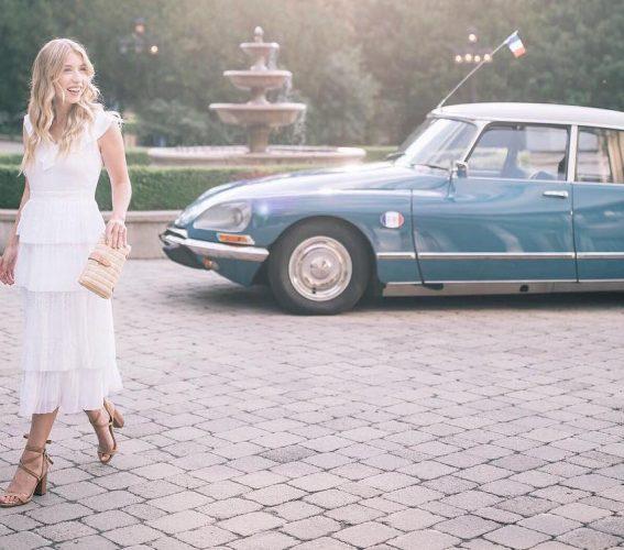 Kaylee Griffin instagram blogger by vintage car